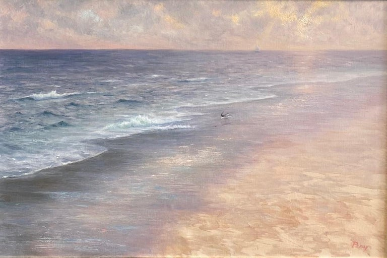 Misty Shoreline, original 20x30 contemporary marine landscape - Painting by Laura Paray