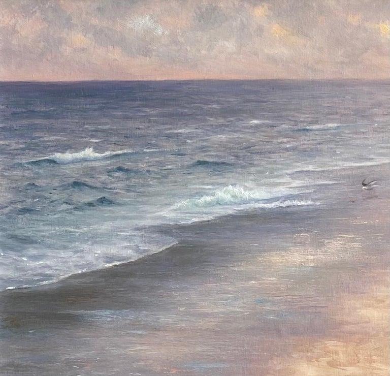 Misty Shoreline, original 20x30 contemporary marine landscape - Impressionist Painting by Laura Paray