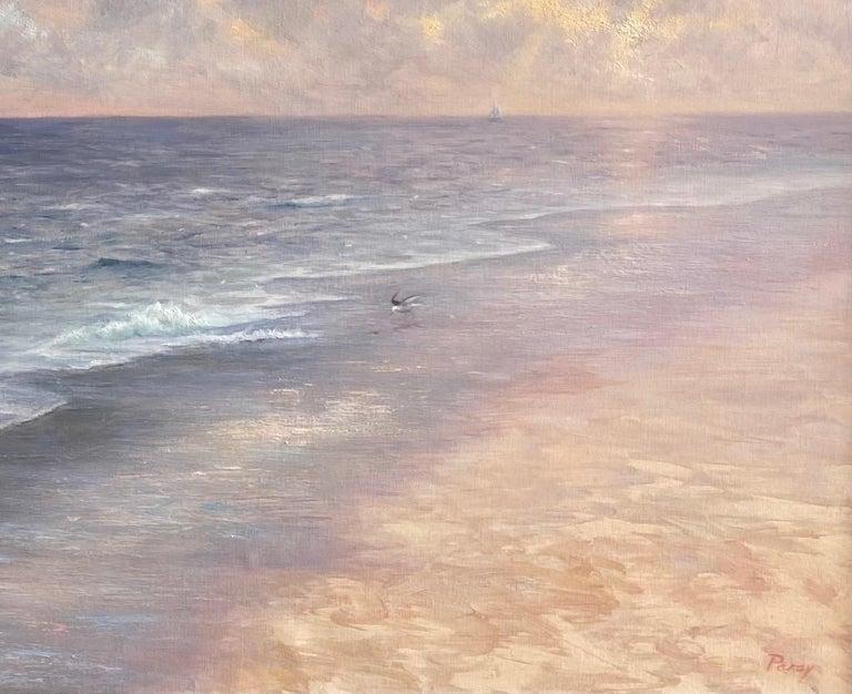 Misty Shoreline, original 20x30 contemporary marine landscape - Brown Landscape Painting by Laura Paray