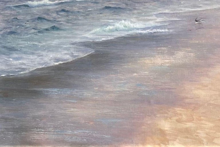 In this oil painting the depth of the colors along the misty shoreline range from teal blue to apricot and taupe, creating a peaceful overtone that is enchanting. A lone seagull uses the subtle light of day to scout out food and enjoy the day's