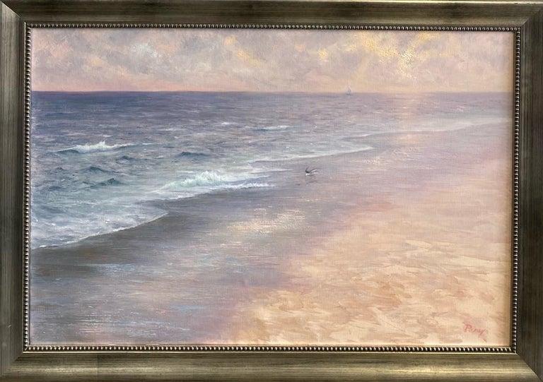 Laura Paray Landscape Painting - Misty Shoreline, original 20x30 contemporary marine landscape