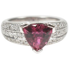 Laura Ramsey Ladies Platinum Rubellite Tourmaline and Diamond Ring