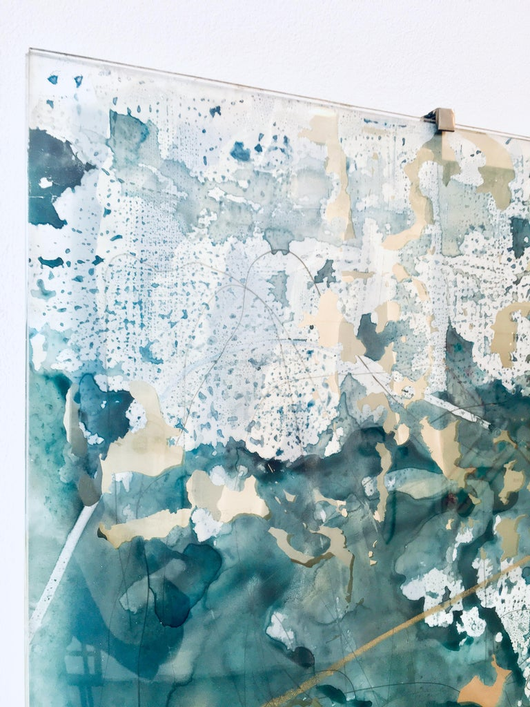 Clarity, watercolor, oil pastel, graphite, hand cut mylar, silver, on glass - Contemporary Sculpture by Laura Sallade
