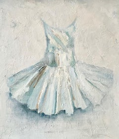 222(22)- loose acrylic painting of a tutu on board in blues and whites