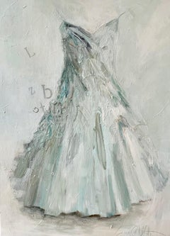 A Few Random Thoughts- dress portrait painting in monochromatic white