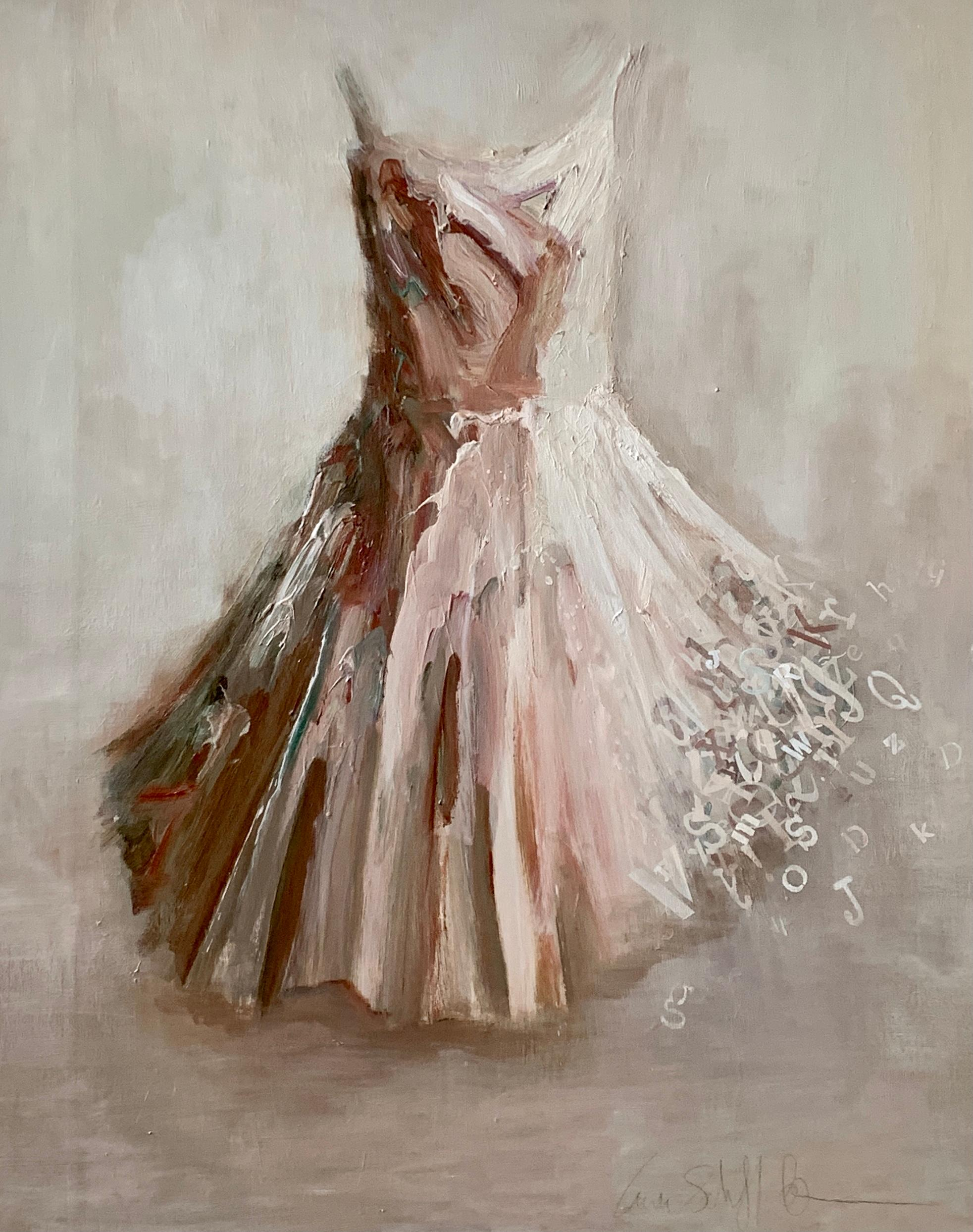 All Things Eventually- Blush toned dress portrait painting by Laura Schiff Bean