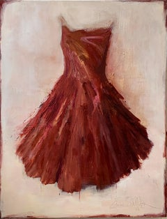 Fire in my Soul - red dress portrait painting by Laura Schiff Bean
