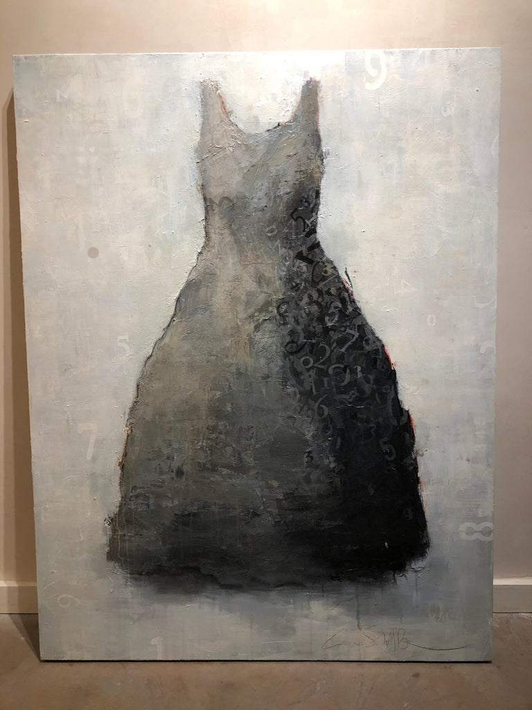 Tick Tock- acrylic dress portrait painting in grays on wood panel - Painting by Laura Schiff Bean