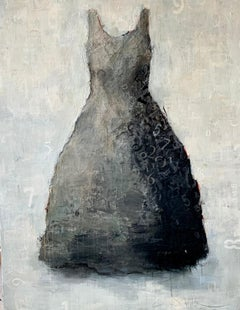 Tick Tock- acrylic dress portrait painting in grays on wood panel