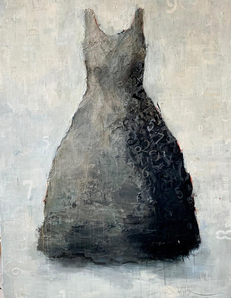 Laura Schiff Bean Figurative Painting - Tick Tock- acrylic dress portrait painting in grays on wood panel