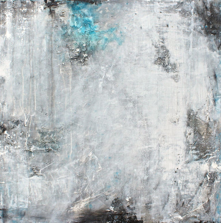 Have you seen the moon tonight?, Painting, Acrylic on Canvas - Gray Abstract Painting by Laura Spring