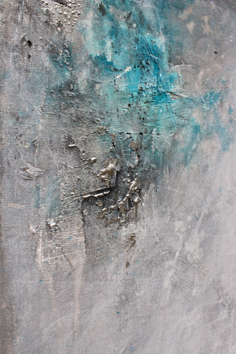 Thank you for looking at my artwork. This one of a kind painting is done in acrylic, with silver accents and has heavy texture. This painting is rich in color and texture. , large enough to be a center piece in the room. I try my best to represent