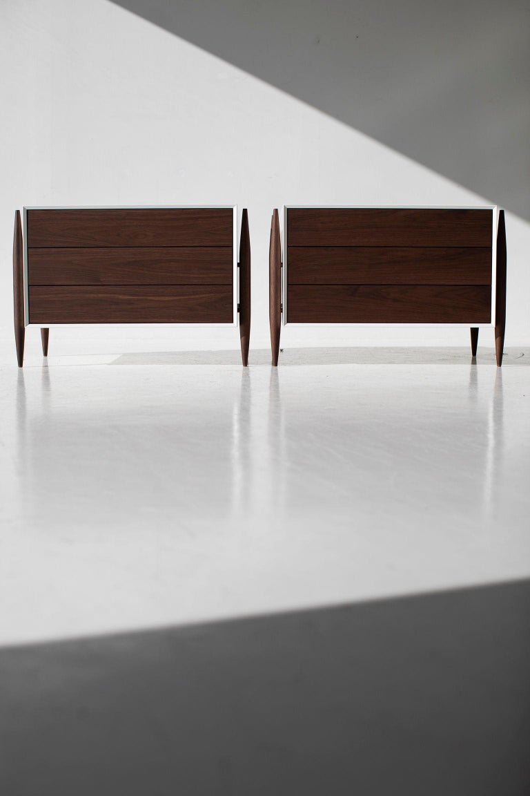 Laura Trenchard Modern Walnut Nightstands for Craft Associates Furniture For Sale 4