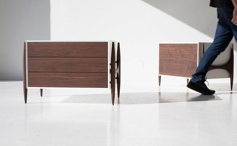 Designer: Laura Trenchard  Manufacturer: Craft Associates Modern Furniture Period/Model: Mid-Century Modern Specs: Walnut, Maple  Dimensions  H 21.25 (53.98cm)  L 31.5 (80.01cm) D 22 (55.88cm)  Condition  These Laura Trenchard modern