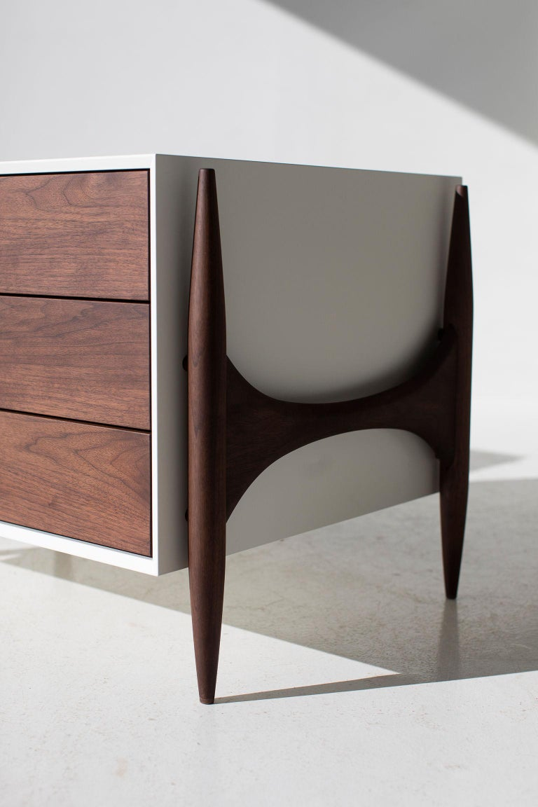 Contemporary Laura Trenchard Modern Walnut Nightstands for Craft Associates Furniture For Sale