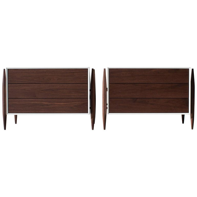 Laura Trenchard Modern Walnut Nightstands for Craft Associates Furniture For Sale