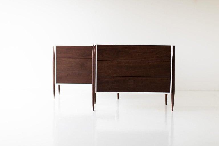 Designer: Laura Trenchard  Manufacturer: Craft Associates Modern Furniture Period/Model: Mid-Century Modern Specs: Maple, Walnut  Dimensions  H: 30.25 (76.84cm) L: 37 (93.98cm) D: 20 (45.72cm)  condition  This Laura Trenchard small