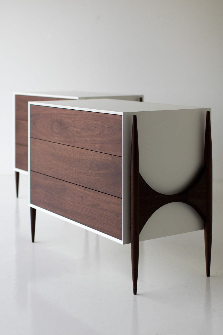 Laura Trenchard Small Modern Walnut Dresser for Craft Associates Furniture In New Condition For Sale In Oak Harbor, OH