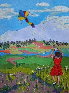 Girl Flying a Kite, Original Painting