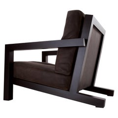 "Laurameroni ""BD 21"" modern minimalist armchair in leather and wood"
