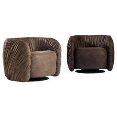 "Laurameroni ""Drapè Lounge"" Modern Swivel Armchair in Hand Pleated Leather"