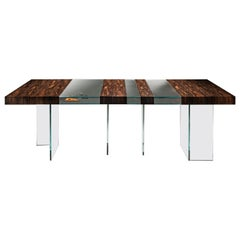"Laurameroni ""Elemento"" Modern Table in Ziricote Wood and Ultra Clear Glass"