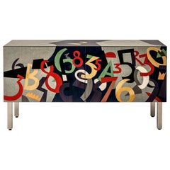 "Laurameroni ""Numeri"" Limited Edition Inlaid Sideboard by Ugo Nespolo"