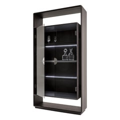 """Laurameroni """"Talento"""" Modern Tall Cabinet in Wood and Glass"""