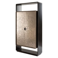 "Laurameroni ""Talento Unlimited"" Modern Tall Cabinet in Bronze Liquid Metal"
