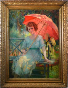 """""""Under the Parasol"""", 20th Century Oil on Canvas Attributed to Laureano Barrau"""