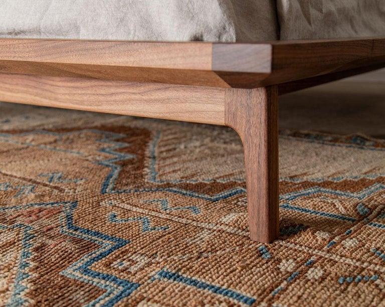 Scandinavian Modern Laurel Bed, Modern Walnut Platform Queen Bed with Ash Slats For Sale