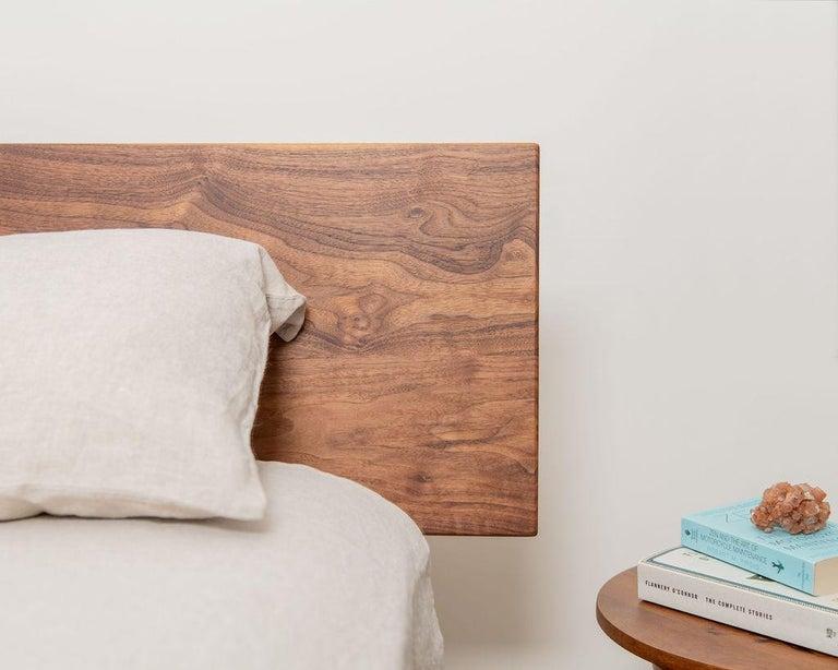 American Laurel Bed, Modern Walnut Platform Queen Bed with Ash Slats For Sale
