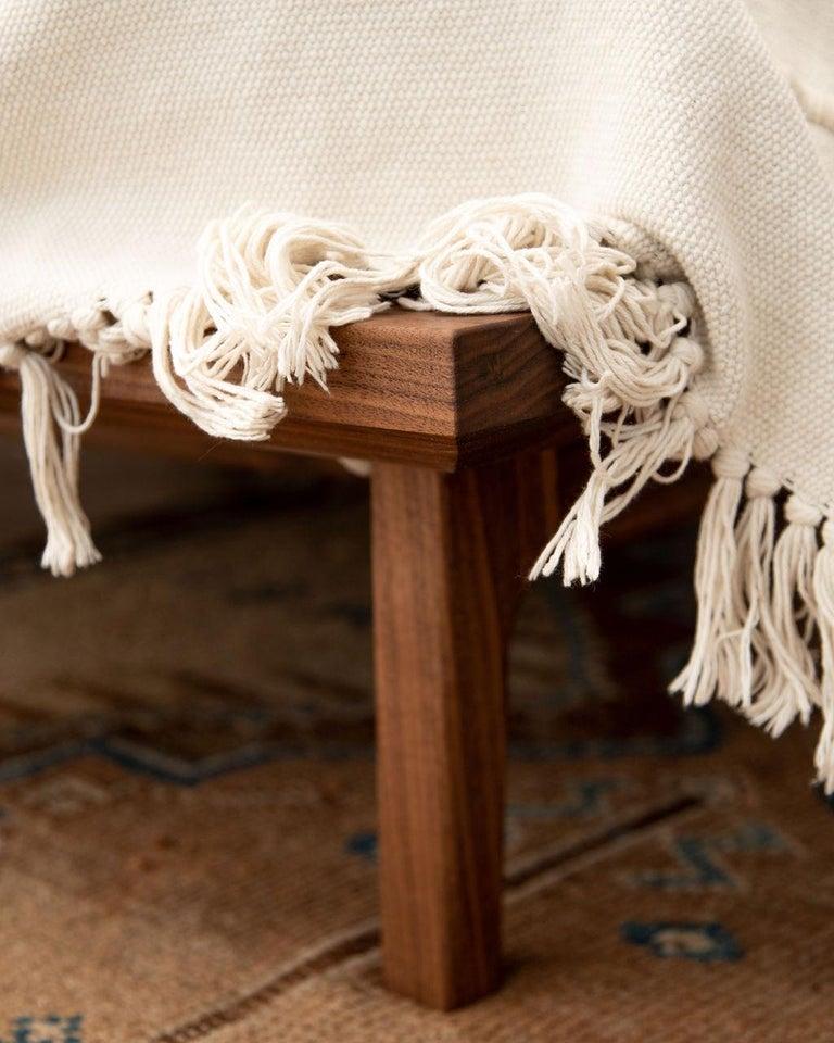 Hand-Crafted Laurel Bed, Modern Walnut Platform Queen Bed with Ash Slats For Sale