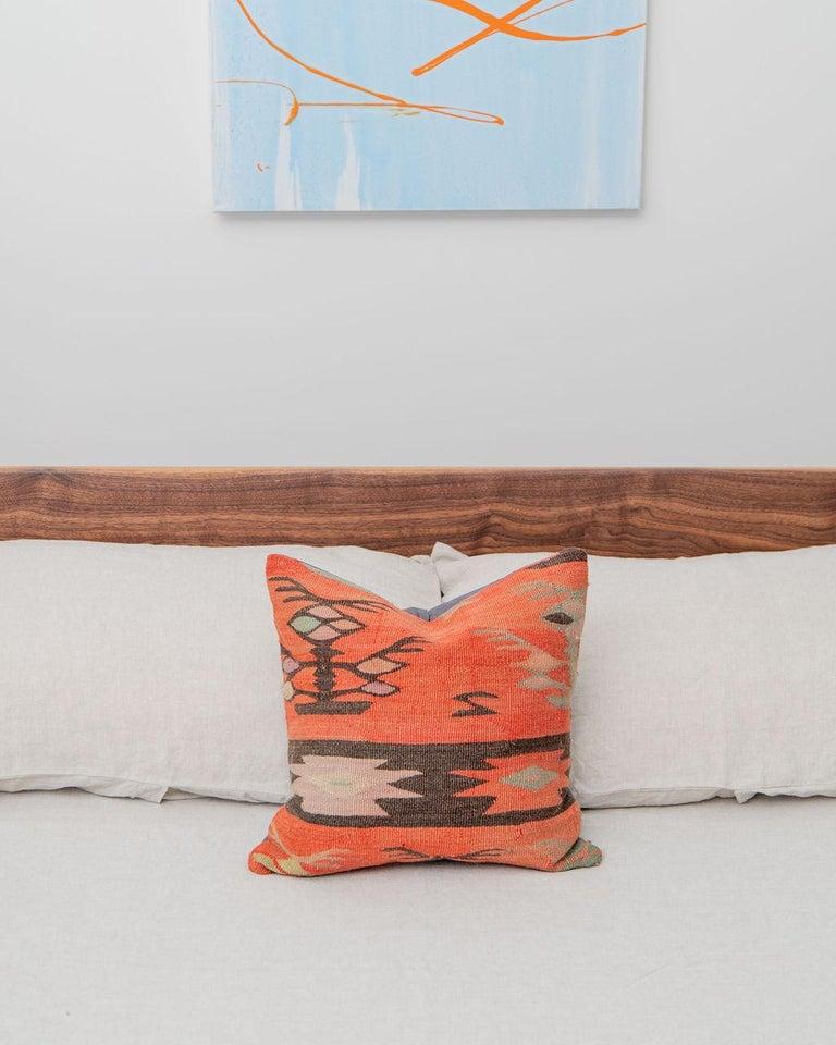 Contemporary Laurel Bed, Modern Walnut Platform Queen Bed with Ash Slats For Sale