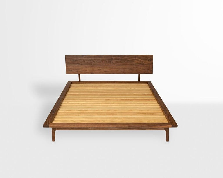Wood Laurel Bed, Modern Walnut Platform Queen Bed with Ash Slats For Sale