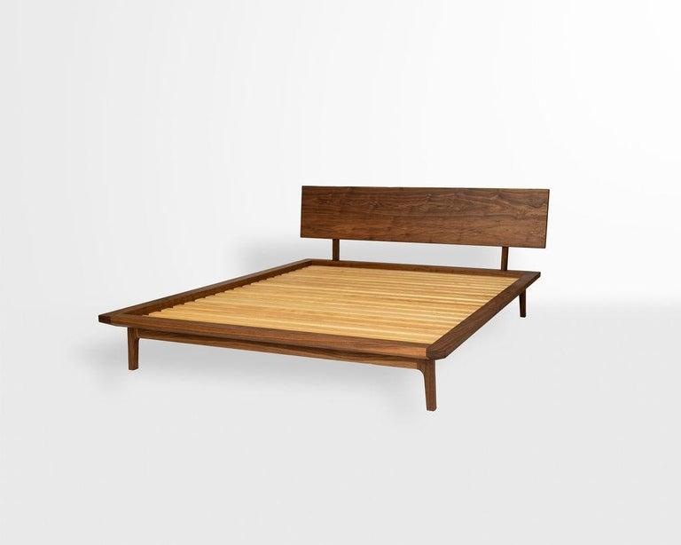 Laurel Bed, Modern Walnut Platform Queen Bed with Ash Slats For Sale 1