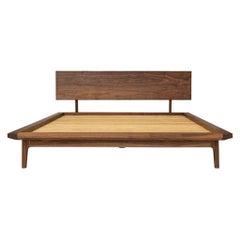 Laurel Bed, Modern Walnut Platform Queen Bed with Ash Slats