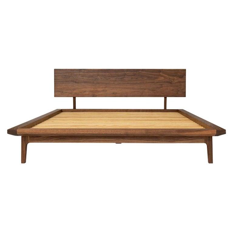 Laurel Bed, Modern Walnut Platform Queen Bed with Ash Slats For Sale