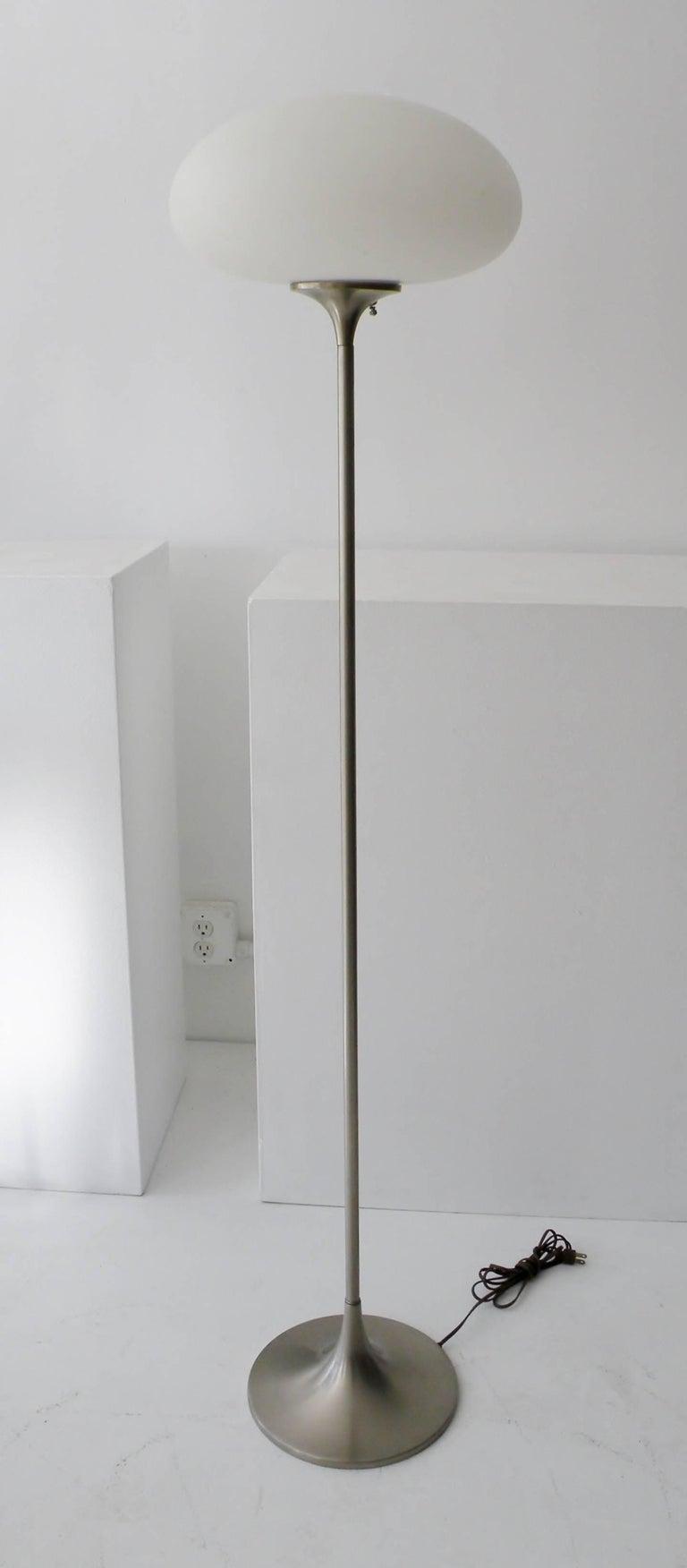 Mid-Century Modern Laurel Brushed Aluminium Floor Lamp Mushroom Shade For Sale