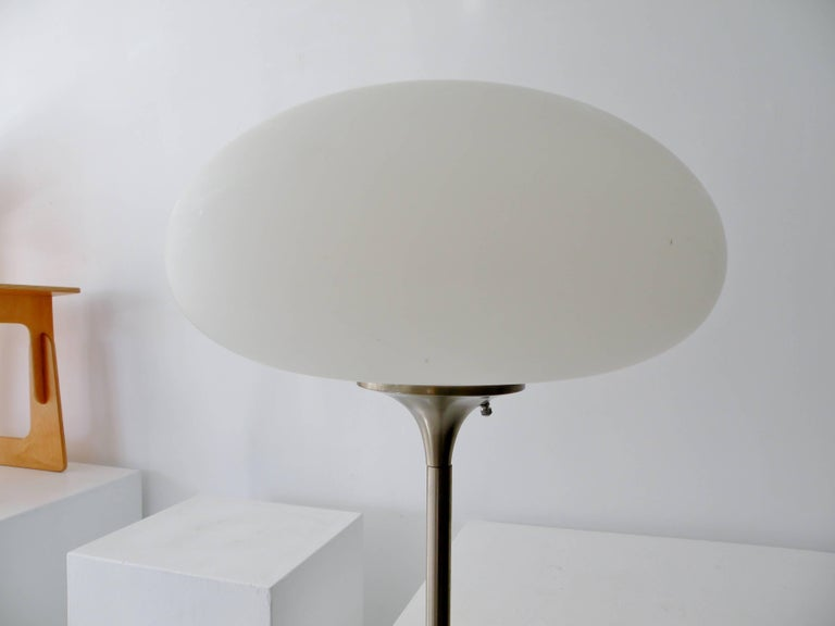 American Laurel Brushed Aluminium Floor Lamp Mushroom Shade For Sale