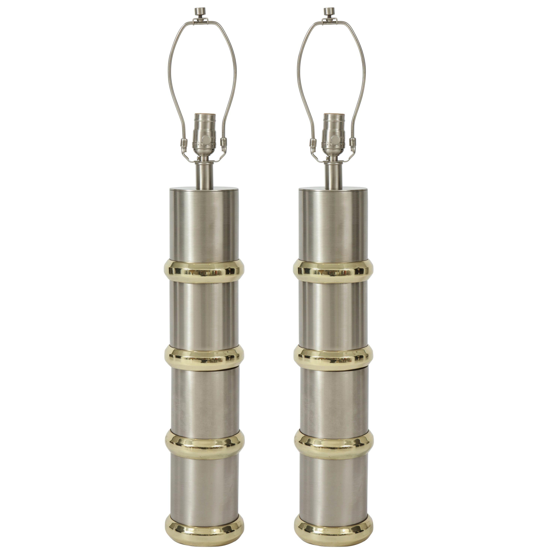 Laurel Brushed Steel, Brass Cylinder Lamps