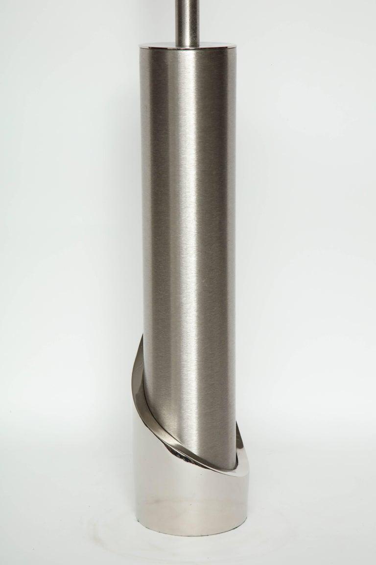 Laurel Brushed Steel Cylinder Lamps For Sale 1