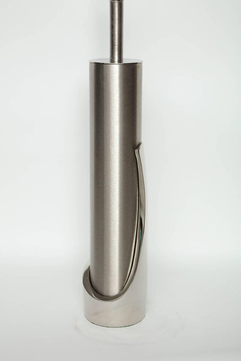 Laurel Brushed Steel Cylinder Lamps For Sale 2
