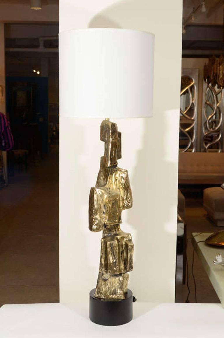 Mid-Century Modern Laurel Brutal Style Bronze Lamps For Sale