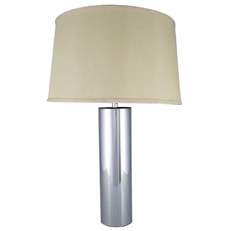 Laurel Cylindrical Chrome Table Lamp For Sale