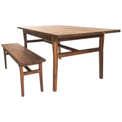 Laurel Dining Set, Modern Walnut Table and Bench with Sculpted Joinery