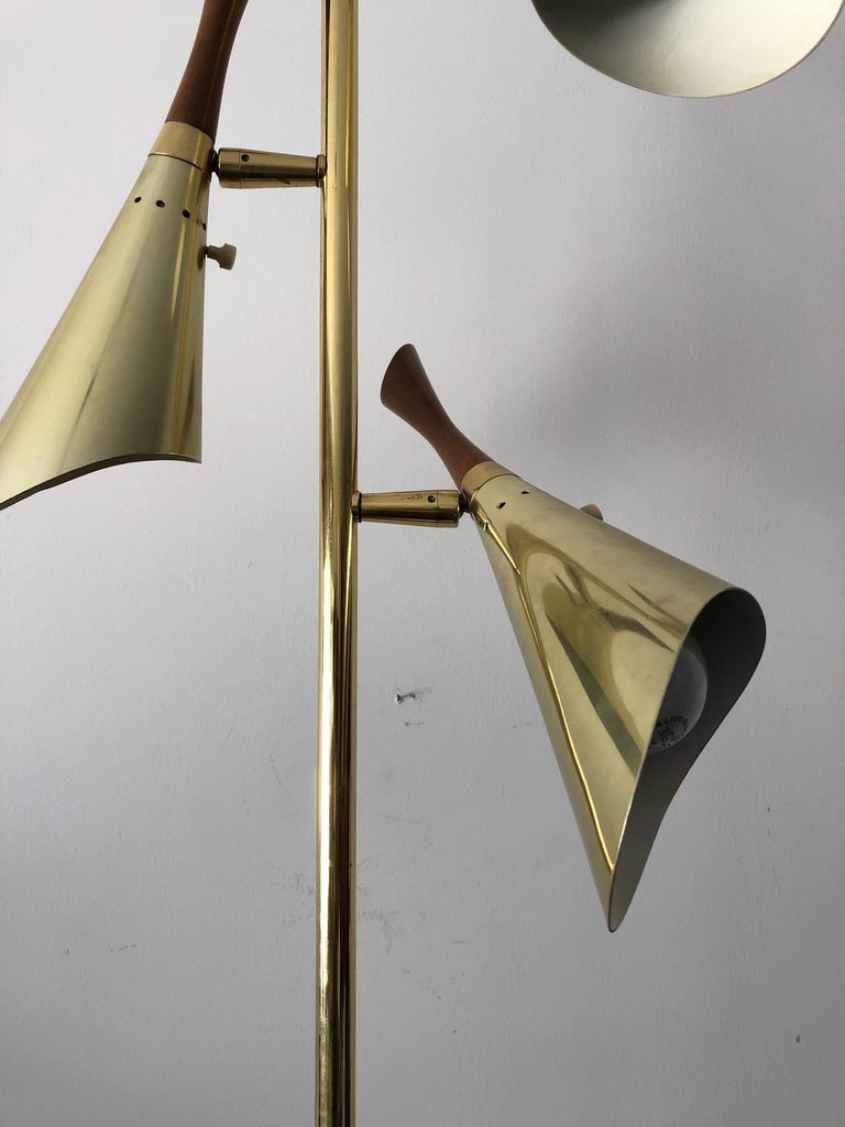 Mid-Century Modern Laurel Floor Lamp with Pivoting Shades For Sale
