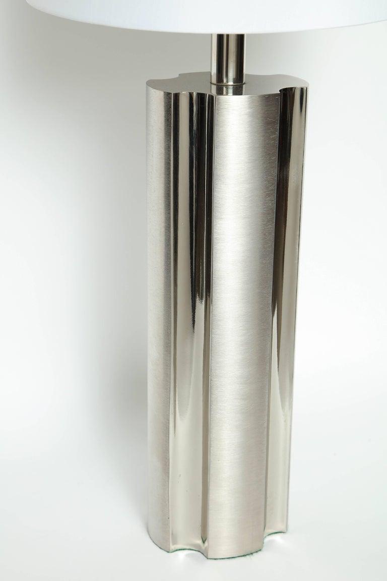 Mid-Century Modern Laurel Fluted Steel Column Lamps For Sale