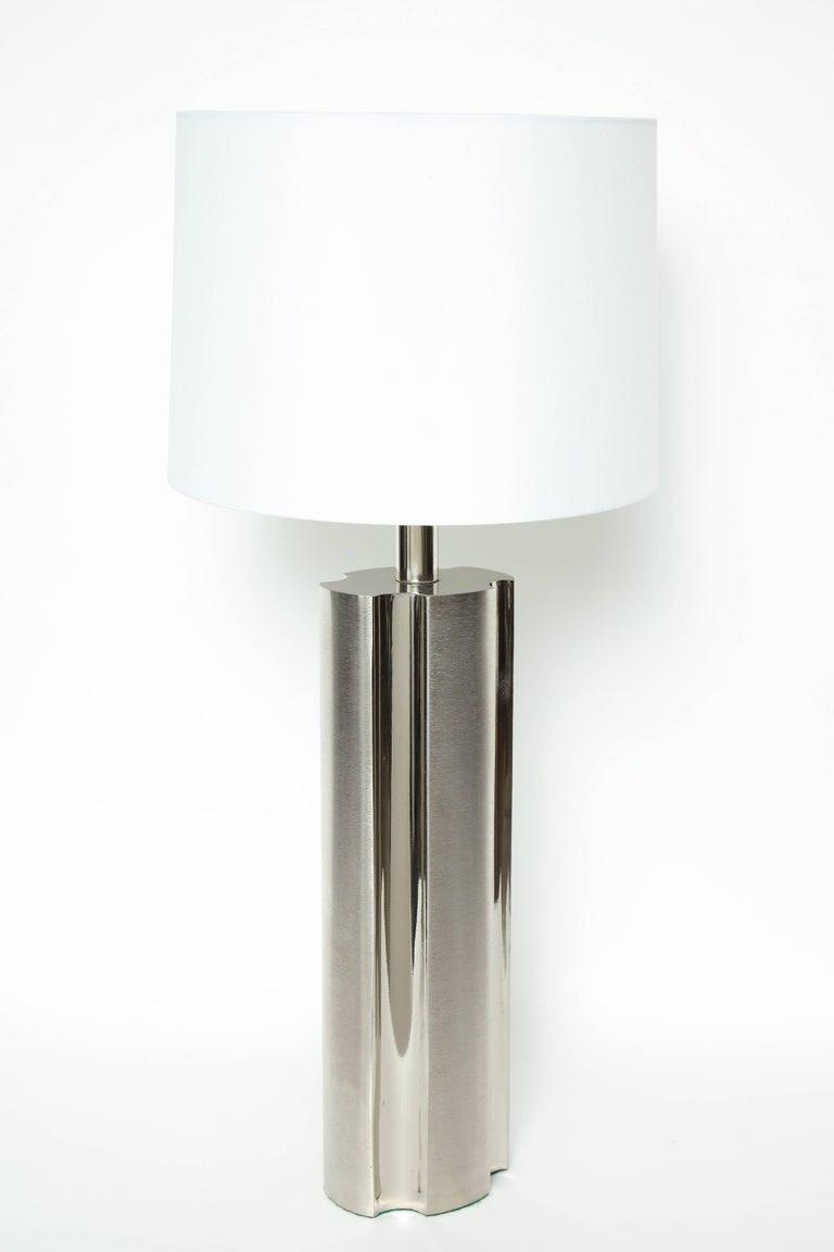 American Laurel Fluted Steel Column Lamps For Sale