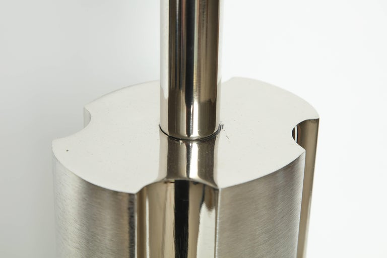 Laurel Fluted Steel Column Lamps In Excellent Condition For Sale In New York, NY